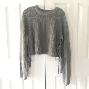 Women's grey ribbon sweater